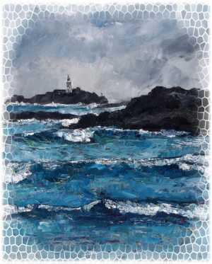 Godrevy Lighthouse from Gwithian, Cornwall, New Year's Day 2012 (painted 02/02/12). Oil on canvas. With added mosaic effect around the edges.