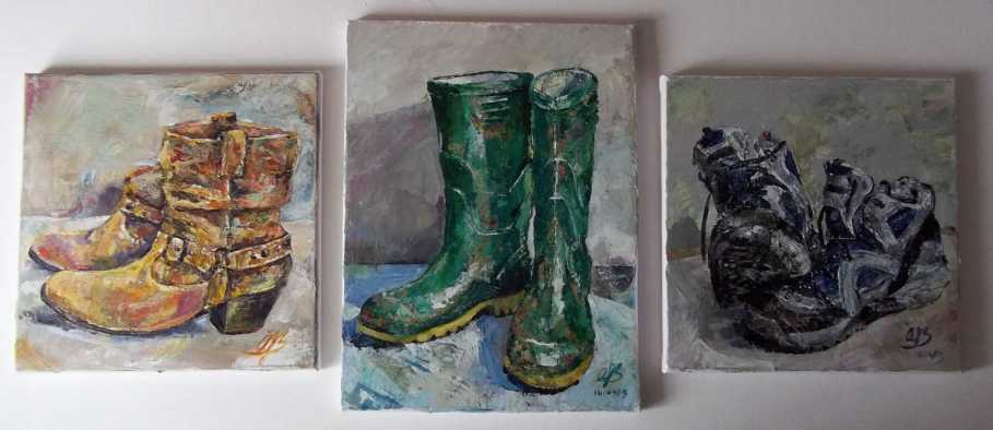 """Cowboy Boots""; ""Green Wellies""; ""Trail Boots"" - all acrylic on canvas, all (c) Amanda Bates"