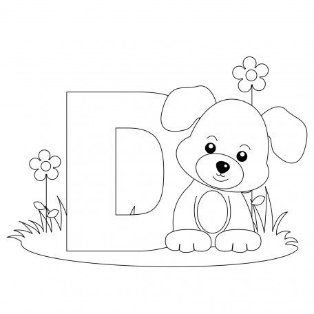 Animal-Alphabet-Letter-D-Coloring-Page