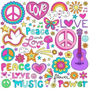 17149785 - peace and love flower power groovy psychedelic notebook doodles set