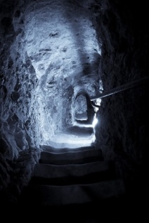 4372844 - stone steps to underground, blue toned.