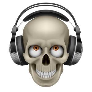 13351961 - human skull with eye and music headphones. illustration on white