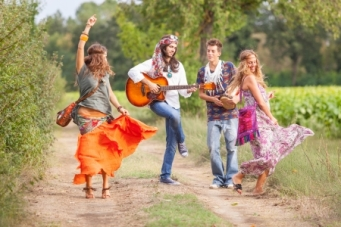 16275581 - hippie group playing music and dancing outside